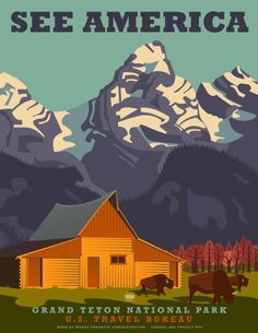 Grand Teton National Park :: Vintage-look Travel Posters by Steven Thomas