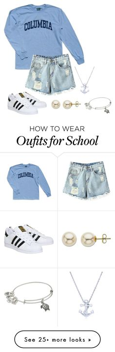 """""""School"""" by caitlinskatelin21 on Polyvore featuring Columbia, Chicnova Fashion, BERRICLE, adidas, Lord & Taylor and Alex and Ani"""