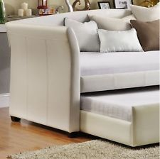 Modern Daybed w/Trundle Storage  White Faux Leather Guest Bedroom Furniture Kids