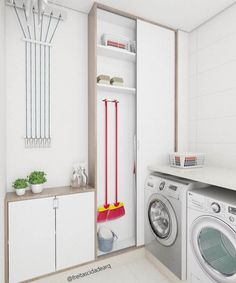 Browse laundry room ideas and decor inspiration for small spaces. Custom laundry rooms and closets, including utility room organization & storage ideas. Hidden Laundry, Small Laundry Rooms, Laundry Room Design, Laundry Area, Laundry Room Cabinets, Laundry Room Organization, Laundry Storage, Stackable Washer And Dryer, Küchen Design