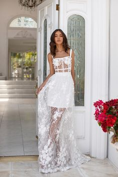 Mariella - White : White Floral Sheer Lace Formal/Prom Dress - Alamour The Label Grad Dresses, Ball Dresses, Ball Gowns, Wedding Dresses, Wedding Bridesmaids, Lace Evening Dresses, Party Gowns, Prom Party, Dream Dress