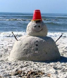 Make a Sand Snowman put a plastic red cup on top and socks around neck for scarf. Take Hilton Head Beach Christmas Photo!