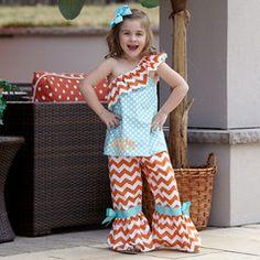 Girls Orange Chevron Aqua Dot Pant Set