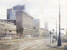 Grzegorz Wróbel - Watercolors / Akwarele   The morning pulse of Warsaw on Behance