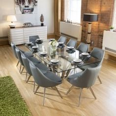 f58f4fd418 Huge Rectangular Dining 2.4 Set Glass Table 10 Mid Grey Modern Chairs Round Dining  Set,