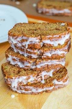 Amazing Cinnamon Swirl Banana Bread. Moist, tender, swirled with cinnamon, and topped with vanilla glaze. Recipe: sallysbakingaddiction.com