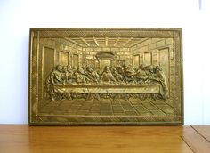 1950s The Last Supper Vintage Brass Wall Plaque Wall Hanging Vintage Religion by FillyGumbo