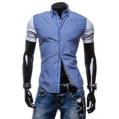 Pánska pásikavá košeľa s krátkymi bielymi rukávmi - fashionday.eu Motorcycle Jacket, Fit, Jackets, Fashion, Down Jackets, Moda, Shape, Fashion Styles, Fashion Illustrations