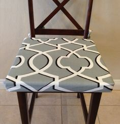Gray geometric seat cushion cover kitchen by BrittaLeighDesigns.  Love my newest addition to my seat cushion cover collection!  Update your home for the new year with a simple update such as new seat cushion covers.