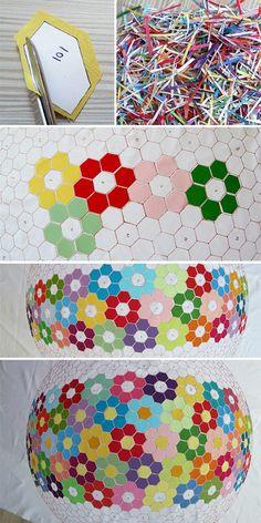 3D quilt design; raw edge applique with mosaic effect. #appliquequilts #3Dquiltpatterns #mosaicquilt