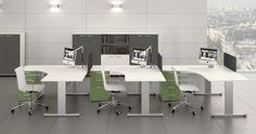 Kea Büroarbeitsplatz mit Kea Kabelkanal und Kea Sichtschutz-Besucherfrontblende aus gelochtem Metall Hochwertige Verarbeitung und stabile Schreibtischkonstruktion kombinierbar mit allen Dekoren und Farben