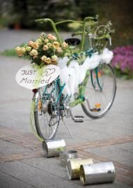 "Adorable vintage ""Just Married"" bicycle for two! Photo by Bethany Nill Photography or say ""almost married"" for a bridal shower Velo Vintage, Vintage Bicycles, Bicycle For Two, Bike Decorations, Bicycle Wedding, Wedding Designs, Wedding Ideas, Wedding Cars, Post Wedding"