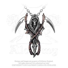 The Reapers Arms Double Scythe Grim Reaper Harvester of Sorrow Necklace by Alchemy Gothic -- Find out more about the great product at the image link.