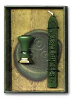 Celtic sealing wax. Customize invitations, greeting cards, spells, rituals, and more with enchanting wax stamps. Boxed kit (3 1/8 x 4 1/2) includes natural wax and a metal seal.