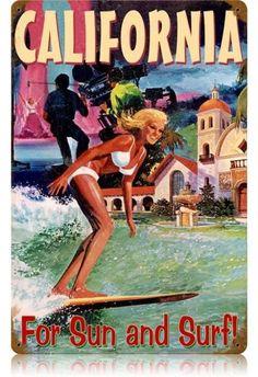 Surf Discover Vintage California Surfer Metal Sign 12 x 18 Inches Vintage California, California Dreamin', Vintage Surfing, Retro Poster, Poster Ads, Poster Vintage, Into The Fire, Vintage Metal Signs, Cities