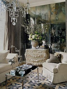 I love Venetian Style!  This encompasses my Dream Master Bedroom Sitting Room. Some contrast with lots of soft hues and geometric patterns to bring it to a more modern feel. More Hydrangeas! LOVE IT!