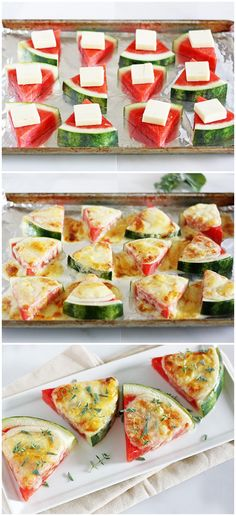Watermelon-Fontina Melts- watermelon with broiled cheese on top is amazing!