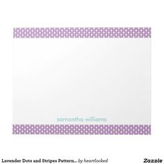 Lavender Dots and Stripes Pattern Personalized Memo Note Pads