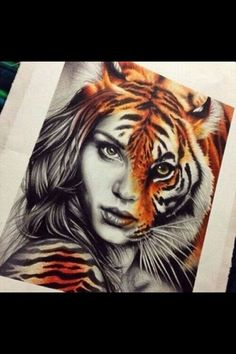 grafika tiger, art, and drawing Amazing Drawings, Cool Drawings, Drawing Sketches, Drawings Of Tigers, Realistic Drawings Of Animals, Pencil Drawings, Art Tigre, Art Amour, Art Design