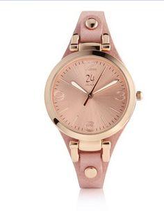 Für Modeliebhaberinnen. Mit roségoldfarbenem Gehäuse und Zifferblatt und schmalem längenverstellbarem Armband aus roséfarbenem Leder. #Geschenkefinder #Accessoires #Uhren #XMAS #Impressionenversand
