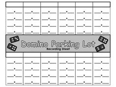 Domino Parking Lot printable and lots of other math center activities