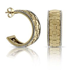 Toscano Two-Tone Hoop Earrings Italian Style, Diamond Cuts, White Gold, Hoop Earrings, Jewellery, Bracelets, Collection, Bangles, Jewelery