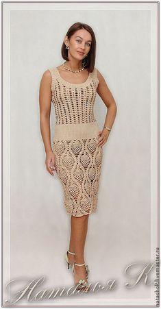 Купить Платье по мотивам Escada - платье, летнее платье, вязаное платье, бежевый, платье крючком