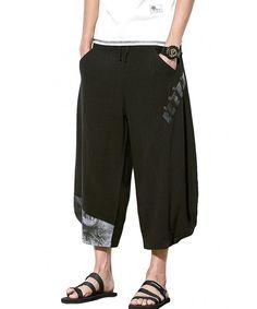 2e742bdcaa72 Mens Summer Casual Lounge Baggy Patchwork Linen Shorts Harem Capri Pants -  Black 2 - CK187DKNKER