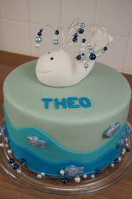 Torte, Kuchen, Cake, Taufe, Wal, Fisch, blau, blue, wale, fish