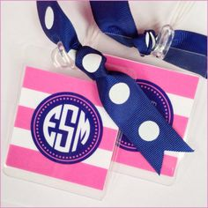 preppy monogrammed striped luggage tags