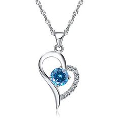 Joyfulshine Womens Necklace Silver Plated Love in Heart Pendant Necklace - Accessory Deer Necklace, Heart Pendant Necklace, Gemstone Necklace, Heart Pendants, Girls Necklaces, Silver Necklaces, Sterling Silver Jewelry, Fashion Jewellery Online, Friendship Necklaces