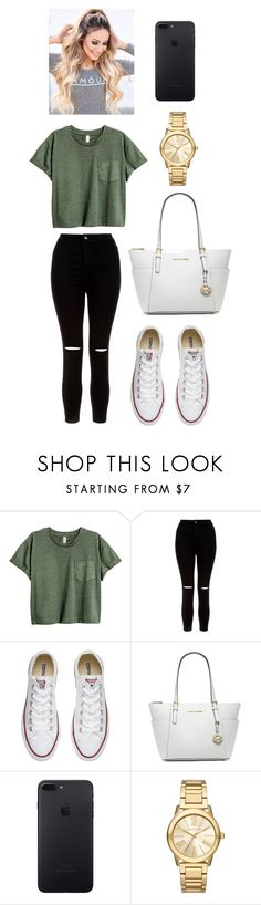 """School Outfit"" by jessica-cistrelli ❤ liked on Polyvore featuring New Look, Converse and Michael Kors"