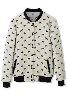 dcd89d9942c Doggie Print Quilted Bomber Jacket Unique Fashion