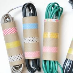 Recycled toilet paper rolls and washi tape to organize those tangled cords. Why didn't I think of that?