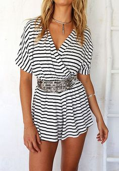 This sexy surplice neckline stripe romper features horizontal nautical stripes and surplice. It's perfect paired with a belt and a pair of pumps. | Lookbook Store Jumpsuits and Rompers
