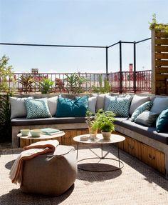 Rooftop Terrace Design, Balcony Design, Roof Design, House Design, Rooftop Garden, Outdoor Seating, Outdoor Spaces, Outdoor Decor, Home Design Images