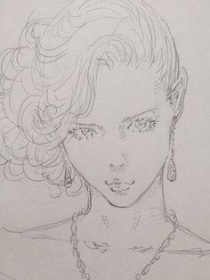漫画記号に飽きて描いたラクガキ。頭に浮かんだ謎の貴婦人。
