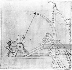 Technical drawing of siege catapult by Leonardo da Vinci, 1470