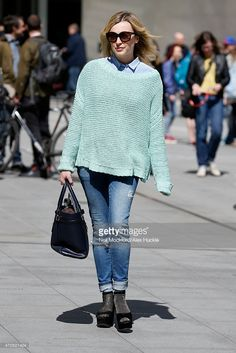 Fearne Cotton seen leaving the BBC Radio 1 Studios on April 21, 2015 in London, England.