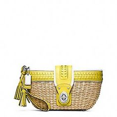 Coach STRAW EDITORIAL CLUTCH WITH TURNLOCK
