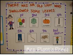 Mrs. Plant's Press: FREEBIE Old Lady Who Swallowed some leaves! {Sequencing cards and student page included!}