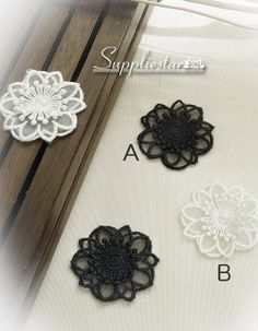 White or Black Flower Lace Applique x 2 Beautiful Garment Accessories by Suppliestar
