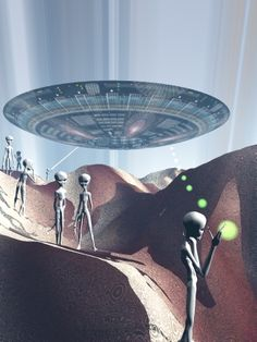 UFO: Explorers, art by Slawek Wojtowicz Ancient Aliens, Aliens And Ufos, Alien Photos, Grey Alien, Spaceship Art, Space Aliens, Alien Worlds, Alien Art, Flying Saucer