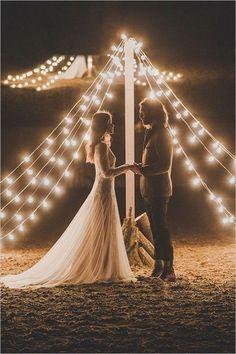 Just So Pretty, teepee wedding ceremony with bistrolights / http://www.deerpearlflowers.com/romantic-wedding-lightning-ideas/
