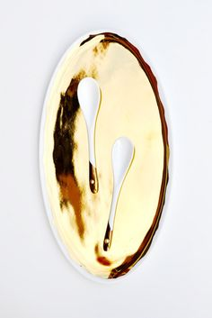 gold porcelain platter + gold dipped spoons