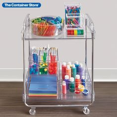 Effortless organization meets high style with this clear rolling cart from The Home Edit. Two tiers provide generous storage and display space. Integrated handles and four castors make for smooth transport. With clean, uncluttered lines, this cart fits easily in laundry rooms, next to a vanity, in a guest bath or as a versatile utility cart in a craft room or home office. Great for small spaces! Home Organisation, Craft Organization, Bedroom Organization, Organizing Ideas, Kids Craft Storage, Art Supplies Storage, Storage Hacks, Diy Storage, Kitchen Storage