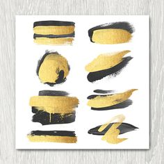Gold Brush Strokes Clipart - black & gold, metallic, glitter, gold paint, diy, watercolor logo, gold blog elements, invitation, scrapbooking
