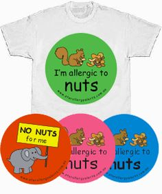 Food Allergy Alert T-shirt, badge and sticker pack $40 PACK