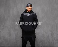 Mens Bib Leather Paneled Jersey Hoodie at Fabrixquare $45