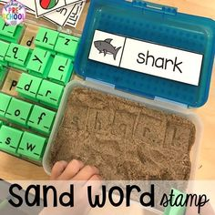 Summer Activities & Centers for Little Learners Word work stamp in the sand plus tons of summer themed activities your preschool, pre-k, and kindergarten kiddos will LOVE! Kindergarten Centers, Kindergarten Writing, Kindergarten Literacy, Kindergarten Classroom, Literacy Centers, Kindergarten Independent Work, Writing Center Preschool, Word Work Centers, Literacy Stations